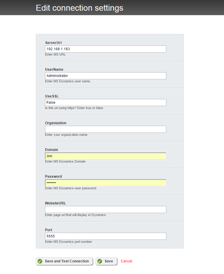 Dynamics connection settings